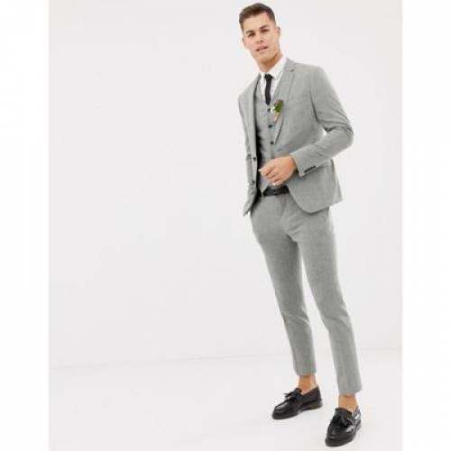 GRAY灰色 グレイ メンズファッション コート ジャケット 【 GREY ASOS DESIGN WEDDING SKINNY SUIT JACKET IN CROSS HATCH 】 ※セットアップではありません