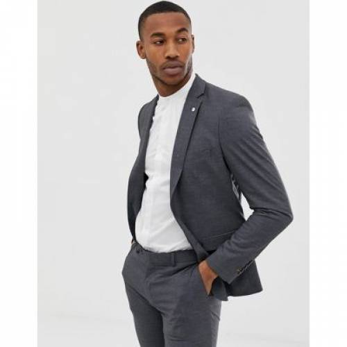 スリム 灰色 グレ メンズファッション コート ジャケット 【 SLIM AVAIL LONDON FIT SINGLE BREASTED SUIT JACKET IN GREY 】 ※セットアップではありません