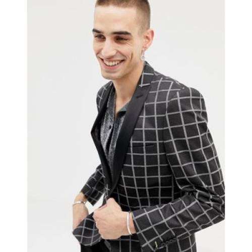 ブレーザー ブレイザー 銀色 シルバー メンズファッション コート ジャケット 【 SILVER TWISTED TAILOR SUPER SKINNY BLAZER IN CHECK 】