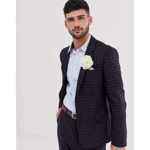 紺 ネイビー 橙 オレンジ メンズファッション コート ジャケット 【 NAVY ORANGE ASOS DESIGN WEDDING SKINNY SUIT JACKET IN AND GRID CHECK 】 ※セットアップではありません