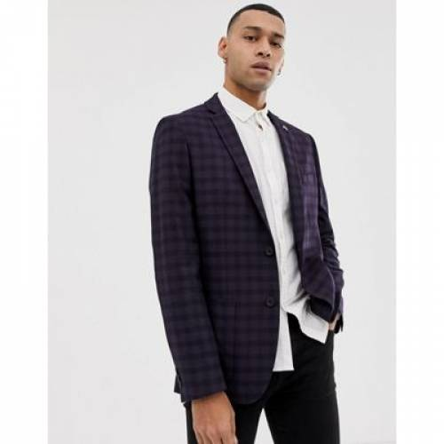 ワイン色 バーガンディー メンズファッション コート ジャケット 【 FARAH HURSTLEIGH SKINNY FIT CHECK SUIT JACKET IN BURGUNDY 】 ※セットアップではありません