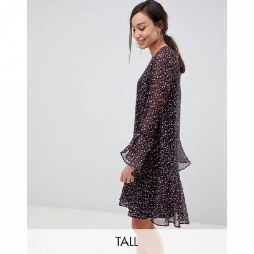 ドレス レディースファッション ワンピース 【 YAS TALL DASH PRINTED MESH SHIFT DRESS WITH FLARES SLEEVES 】