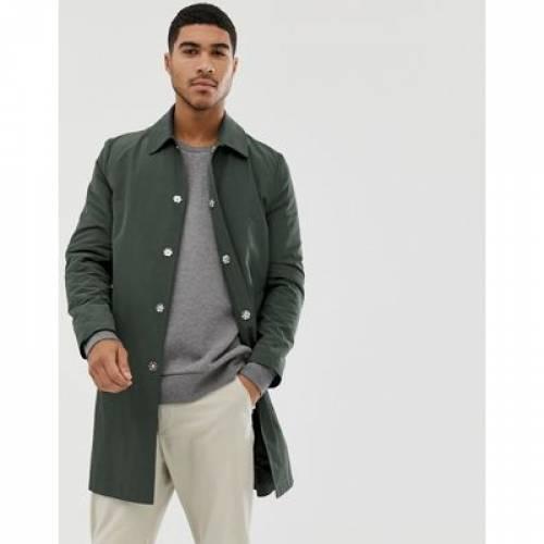 緑 グリーン メンズファッション コート ジャケット 【 GREEN ASOS DESIGN SHOWER RESISTANT TRENCH COAT IN 】