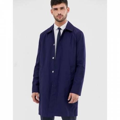 紺 ネイビー メンズファッション コート ジャケット 【 NAVY ASOS DESIGN SHOWER RESISTANT TRENCH COAT IN 】