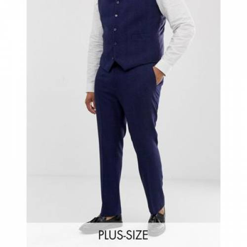 青 ブルー メンズファッション ズボン パンツ 【 BLUE ASOS DESIGN PLUS WEDDING SKINNY SUIT TROUSERS IN WOOL BLEND HERRINGBONE 】