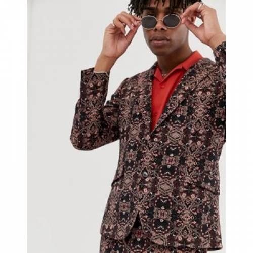 & メンズファッション コート ジャケット 【 HEART DAGGER SKINNY SB2 PEAK SUIT JACKET IN TAPESTRY 】 ※セットアップではありません