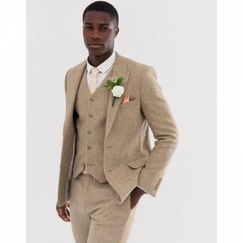 スリム キャメル 100% メンズファッション トップス ベスト ジレ 【 SLIM CAMEL ASOS DESIGN WEDDING SUIT WAISTCOAT IN WOOL HARRIS TWEED 】