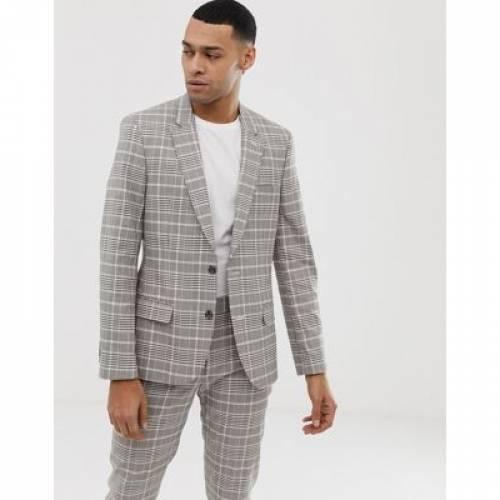 メンズファッション コート ジャケット 【 ASOS DESIGN SKINNY SUIT JACKET IN STONE CHECK 】 ※セットアップではありません