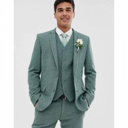 緑 グリーン メンズファッション コート ジャケット 【 GREEN ASOS DESIGN WEDDING SUPER SKINNY SUIT JACKET IN WOOL BLEND MINI CHECK 】 ※セットアップではありません