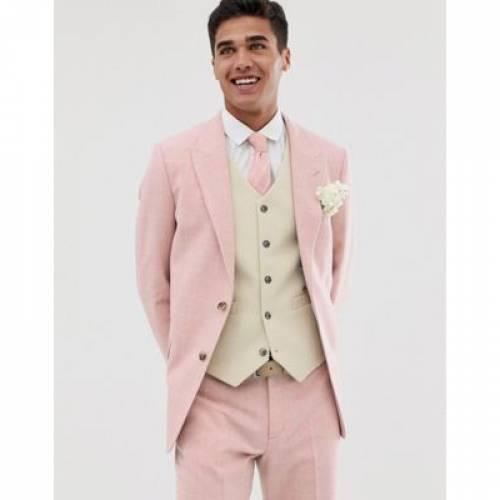 スリム ピンク メンズファッション コート ジャケット 【 SLIM PINK ASOS DESIGN WEDDING SUIT JACKET IN WOOL BLEND CHECK 】 ※セットアップではありません