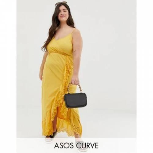 ラップ ドレス レディースファッション ワンピース 【 WRAP ASOS DESIGN CURVE BRODERIE TRIM MAXI DRESS 】