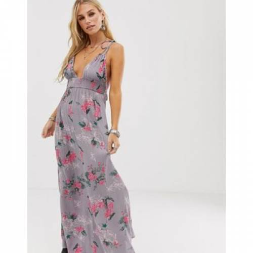 ドレス レディースファッション ワンピース 【 EN CREME MAXI DRESS WITH PLUNGE NECK IN BOTANICAL FLORAL 】