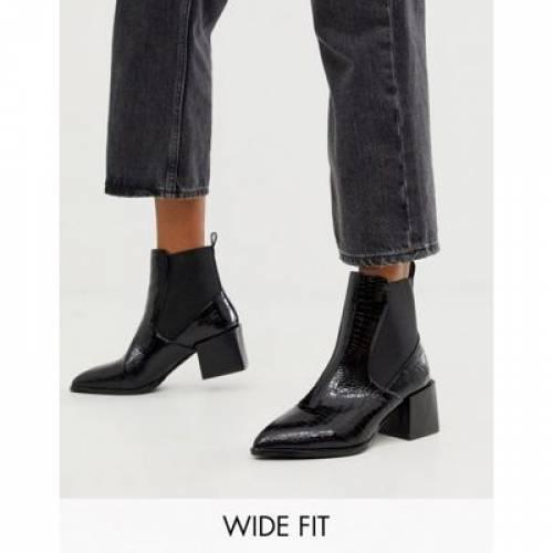 <title>その他ファッションブランド カジュアル ファッション シューズ 黒色 ブラック ブーツ ヒール ワイドフィット チェルシーブーツS RAID EXCLUSIVE LUCINDA BLACK CROC 大注目 WITH BLOCK HEEL</title>