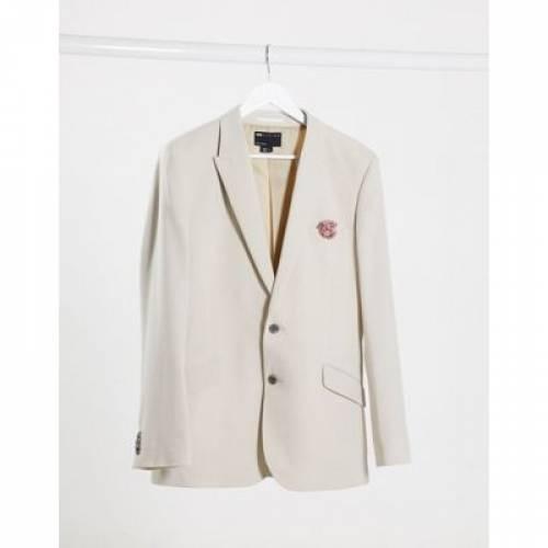 スリム メンズファッション コート ジャケット 【 SLIM ASOS DESIGN WEDDING SUIT JACKET IN STONE CROSSHATCH 】 ※セットアップではありません