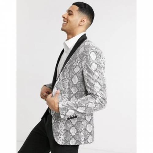 メンズファッション コート ジャケット 【 AVAIL LONDON SKINNY FIT TUXEDO JACKET IN SNAKESKIN PRINT 】