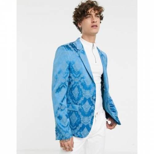 スリム 青 ブルー メンズファッション コート ジャケット 【 SLIM BLUE ASOS EDITION SUIT JACKET IN TONAL JACQUARD 】 ※セットアップではありません