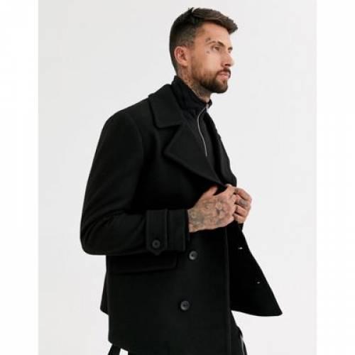 黒 ブラック メンズファッション コート ジャケット 【 BLACK TOPMAN PEA COAT IN 】