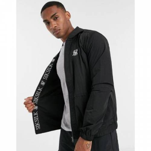 黒 ブラック メンズファッション コート ジャケット 【 BLACK SIKSILK LIGHTWEIGHT JACKET WITH TAPING IN 】