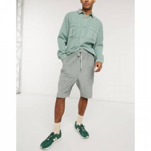 ズボン IN DESIGN 青色 パンツ ブルー CORD SHORTS 】 ハーフパンツ DROP 【 CROTCH BLUE ショーツ メンズファッション ASOS