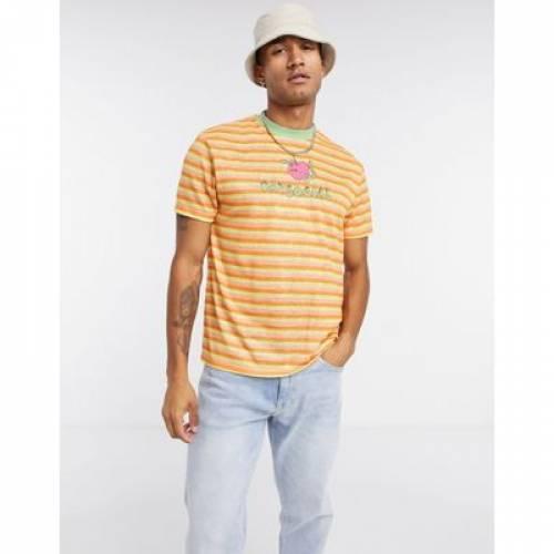 ストライプ Tシャツ メンズファッション トップス カットソー 【 STRIPE ASOS DAYSOCIAL RELAXED TSHIRT WITH CHEST EMBOIDERY IN LINEN LOOK 】