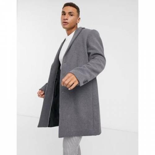 灰色 グレ メンズファッション コート ジャケット 【 ASOS DESIGN WOOL MIX OVERCOAT IN LIGHT GREY 】