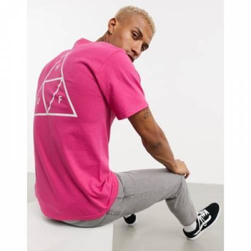 ハフ Tシャツ ピンク メンズファッション トップス カットソー 【 HUF PINK ESSENTIALS TRIPLE TRIANGLE TSHIRT IN 】