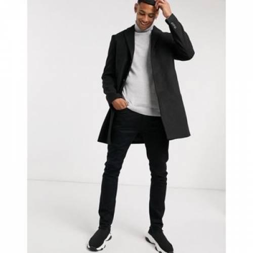 黒 ブラック メンズファッション コート ジャケット 【 BLACK NEW LOOK OVERCOAT IN 】