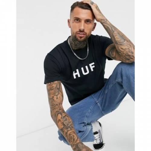 ハフ ロゴ Tシャツ 黒 ブラック メンズファッション トップス カットソー 【 HUF BLACK ESSENTIALS OG LOGO TSHIRT IN 】