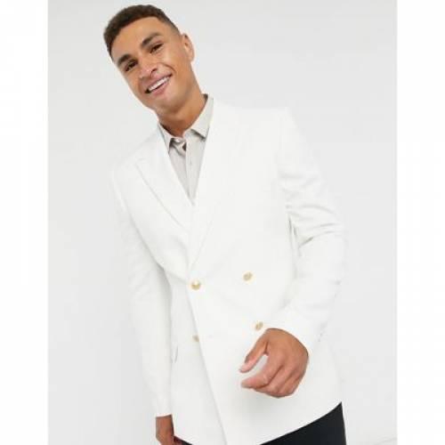 ブレーザー ブレイザー 金色 ゴールド 白 ホワイト メンズファッション トップス Tシャツ カットソー 【 WHITE ASOS DESIGN SKINNY DOUBLE BREASTED BLAZER WITH GOLD BUTTONS IN 】