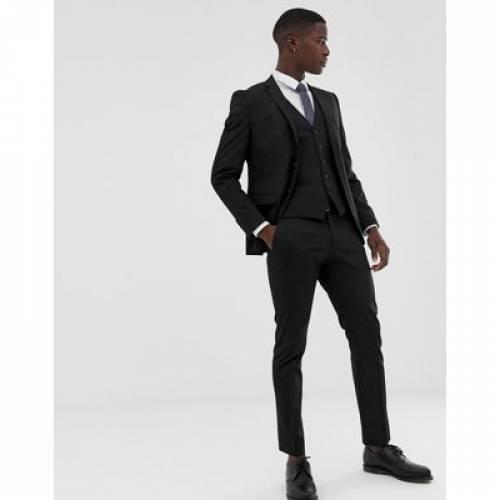スリム 黒 ブラック メンズファッション ズボン パンツ 【 SLIM BLACK SELECTED HOMME FIT STRETCH SUIT TROUSERS IN 】