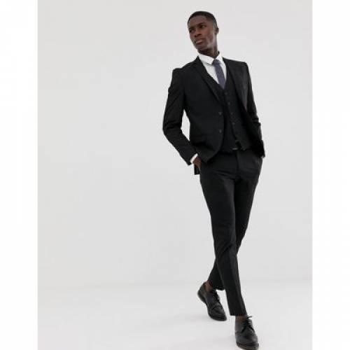 スリム 黒 ブラック メンズファッション コート ジャケット 【 SLIM BLACK SELECTED HOMME FIT STRETCH SUIT JACKET IN 】 ※セットアップではありません