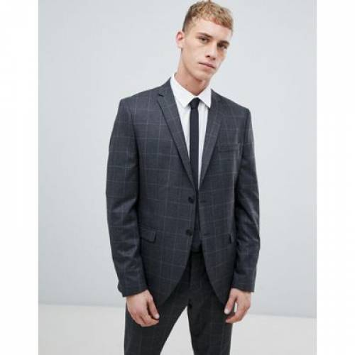 GRAY灰色 グレイ スリム メンズファッション コート ジャケット 【 GREY SLIM SELECTED HOMME SUIT JACKET WITH GRID CHECK IN FIT 】 ※セットアップではありません