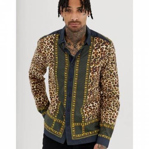 メンズファッション トップス カジュアルシャツ 【 ASOS DESIGN REGULAR FIT LEOPARD BORDER PRINT SHIRT IN COTTON 】