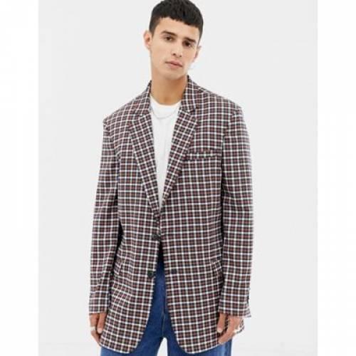 【海外限定】ブレーザー ブレイザー ミクロ メンズファッション コート ジャケット 【 MICRO COLLUSION DOUBLE BREASTED BLAZER IN CHECK 】