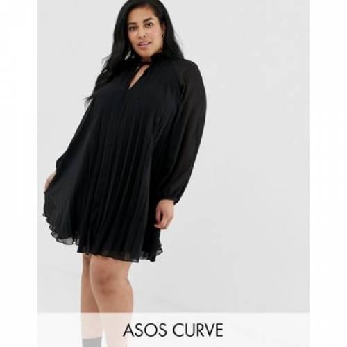 【海外限定】ドレス レディースファッション ワンピース 【 ASOS DESIGN CURVE PLEATED TRAPEZE MINI DRESS WITH TIE NECK 】
