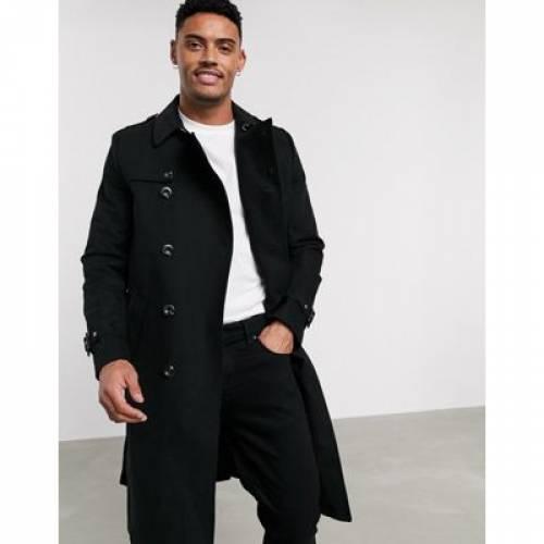 ベルト 黒 ブラック メンズファッション コート ジャケット 【 BLACK ASOS DESIGN SHOWER RESISTANT LONGLINE TRENCH COAT WITH BELT IN 】