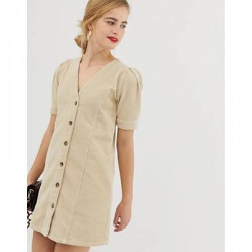 ドレス スリーブ レディースファッション ワンピース 【 SLEEVE ASOS DESIGN CORD DRESS WITH PUFF IN STONE 】
