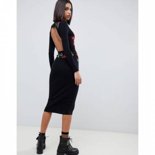 ドレス レディースファッション ワンピース 【 ASOS DESIGN EMBROIDERED RIB MIDI BODYCON DRESS WITH OPEN BACK 】