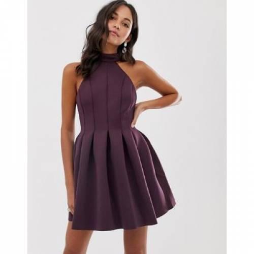 ドレス レディースファッション ワンピース 【 ASOS DESIGN SEAMED HALTER MINI PROM DRESS 】