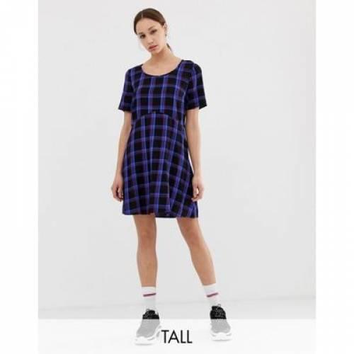 ドレス レディースファッション ワンピース 【 COLLUSION TALL TIE BACK CHECK SMOCK DRESS 】