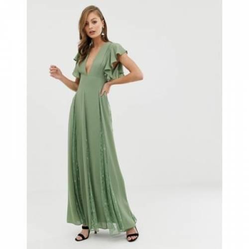 ドレス レディースファッション ワンピース 【 ASOS DESIGN MAXI DRESS WITH LACE GODET PANELS 】