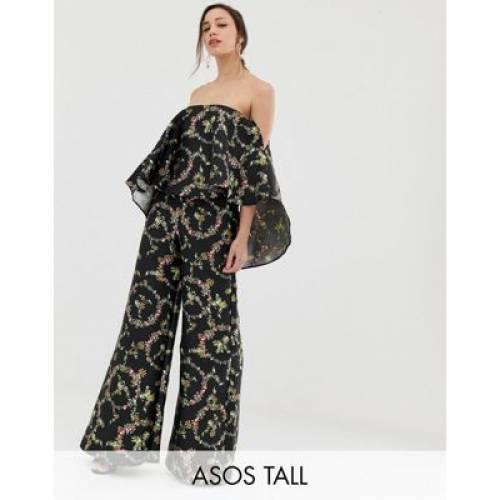 レディースファッション オールインワン サロペット 【 ASOS DESIGN TALL JUMPSUIT WITH STRUCTURED OVERLAY IN FLORAL PRINT 】