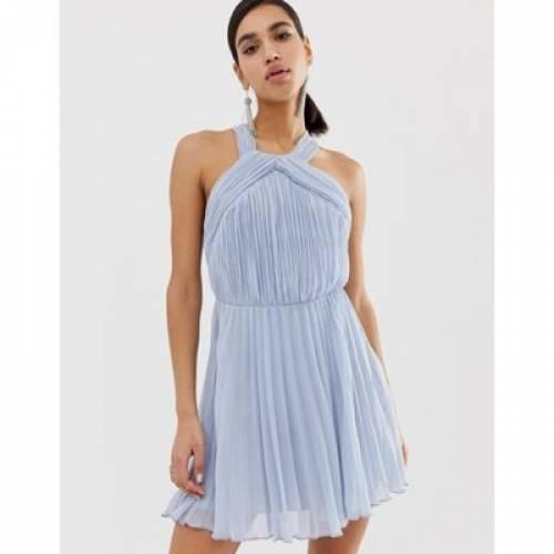 ドレス レディースファッション ワンピース 【 ASOS DESIGN PLEATED BODICE HALTER MINI DRESS 】