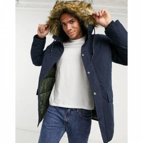 紺 ネイビー & メンズファッション コート ジャケット 【 NAVY JACK JONES ORIGINALS PARKA WITH FAUX FUR HOOD IN 】