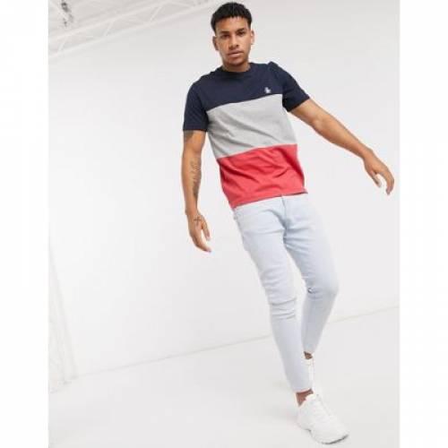 Tシャツ 紺 ネイビー ロゴ メンズファッション トップス カットソー 【 NAVY ORIGINAL PENGUIN TSHIRT IN COLOUR BLOCK WITH SMALL LOGO 】