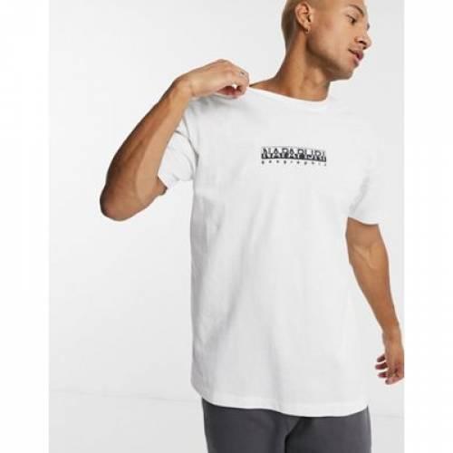 ボックス ロゴ Tシャツ 白 ホワイト メンズファッション トップス カットソー 【 WHITE NAPAPIJRI BOX LOGO TSHIRT IN 】