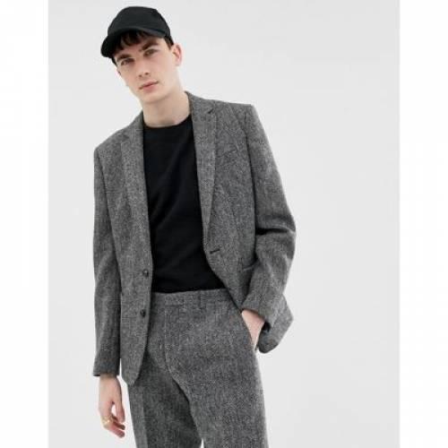 スリム 灰色 グレ メンズファッション コート ジャケット 【 SLIM NOAK FIT HARRIS TWEED SUIT JACKET IN GREY 】 ※セットアップではありません