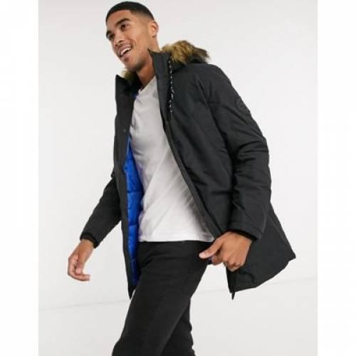 黒 ブラック & メンズファッション コート ジャケット 【 BLACK JACK JONES ORIGINALS PARKA WITH FAUX FUR HOOD IN 】
