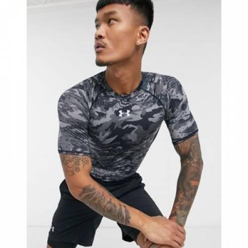 Tシャツ 黒 ブラック メンズファッション トップス カットソー 【 BLACK UNDER ARMOUR HEATGEAR CAMO TSHIRT IN 】