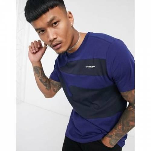Tシャツ 青 ブルー メンズファッション トップス カットソー 【 BLUE GSTAR CUT AND SEW TSHIRT IN 】